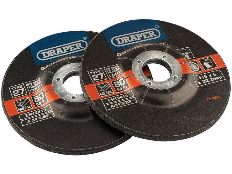 Draper 2 Piece 115mm Metal Grinding Discs