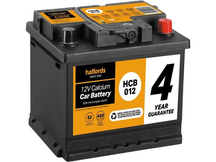 Halfords HCB012 Calcium 12V Car Battery 4 Year Guarantee